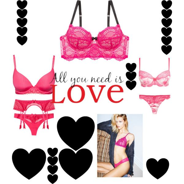 Valentine´s Night in Pink by chicmisses on Polyvore featuring Blush, Triumph, Marie Meili, WallPops and Anja