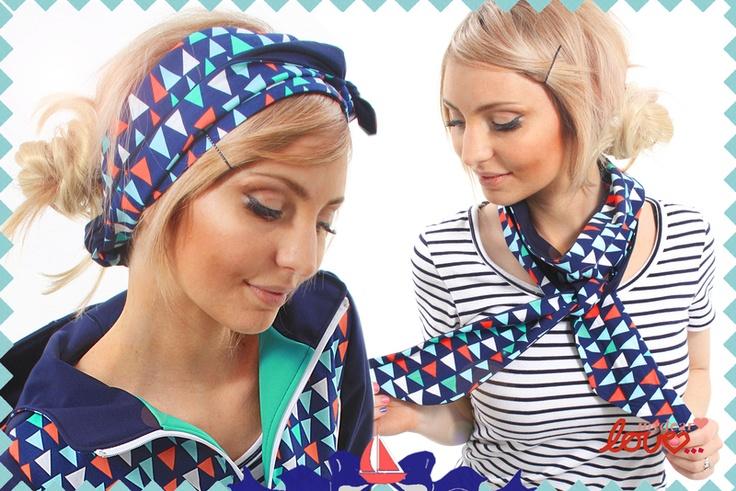 "Headband/Schaltuch Wende-""Poppy"" Wimpel, headband and scarve,triangle,mydearlove"