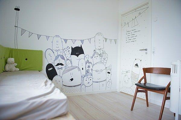 vinilos stickers infantiles Ilustración en las paredes infantiles