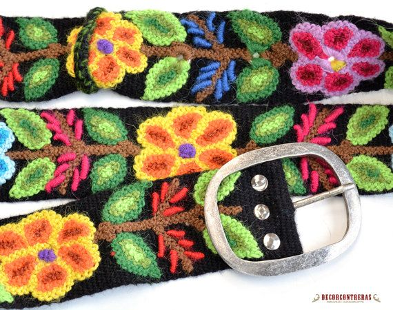 EMBROIDERY BELT WOOL BLACK SIZE SMALL FESTIVAL - PERUVIAN HANDICRAFTS - GIFTS FOR WOMEN  Festival, Flowers blossom in a great palette of black,