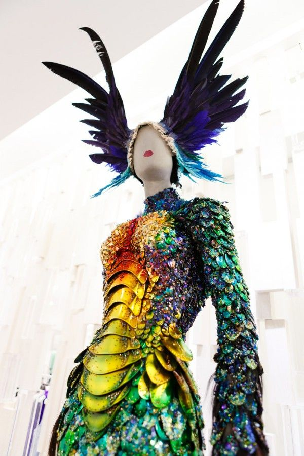 Akin to iridescent insect armour, this is a Mugler gown from the Fall/Winter '97-'98 Couture collection. As seen at the Mugler Event -The Bay Vancouver, November 2012. #digitalprints #fashion #feathers