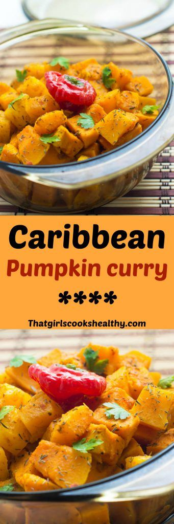 Caribbean pumpkin curry recipe - A delicious combination of pumpkin and sweet potato slow cooked in oven in a creamy coconut sauce with pineapples. As the temperature is set to decline in the UK, right now couldn't be more befitting to unleash a few one pot recipes. While it's cold outs