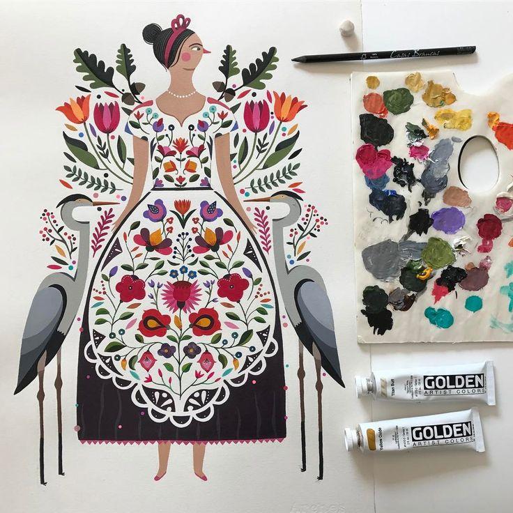 "4,448 Me gusta, 64 comentarios - Maya Hanisch / Pili (@maya_hanisch) en Instagram: ""my hungarian girl/ mi húngara... #folk #folkart #hungary #love #acrylic #painting #folkcostume…"""