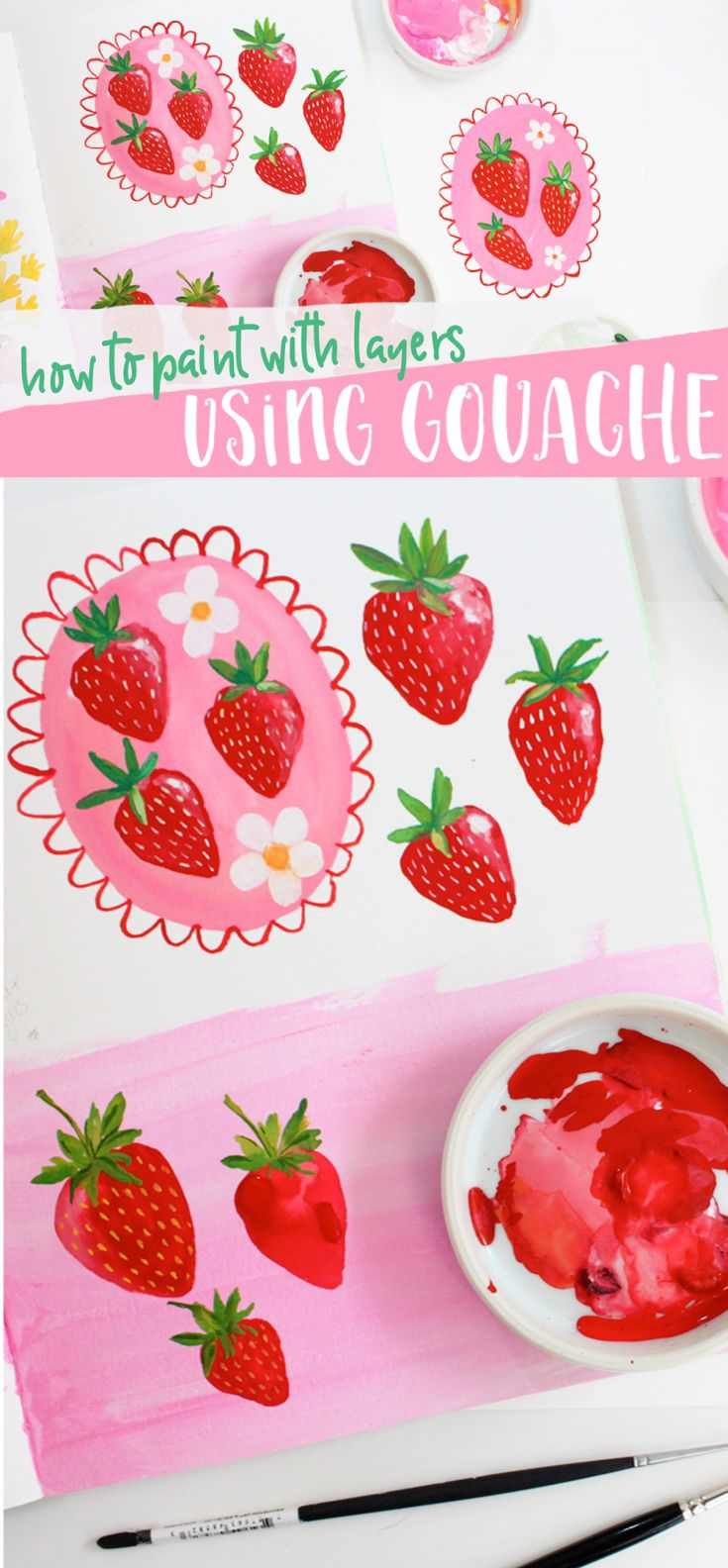 Gouache Painting Video Tutorial!  Follow along and learn how to paint these simple strawberries using layers with gouache!