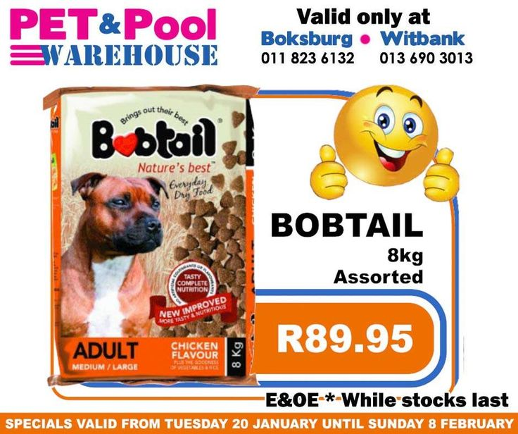 Fantastic #savings at Pet & Pool Warehouse Boksburg and Witbank, such as assorted Bobtail 8kg dog food only: R89.95. To view all specials click here: http://apin.link/2Z7. Specials are valid from 20th of January 2015 until 8th of Febuary 2015. While Stocks Last *E&OE #PetPool #Specials