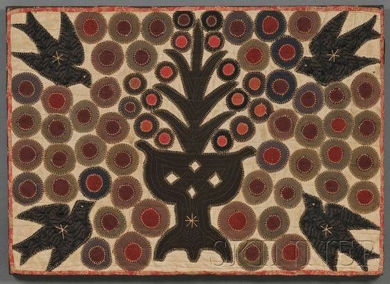 pieced and appliqued wool and linen penny rug america late century sold at auction for over two thousand dollars