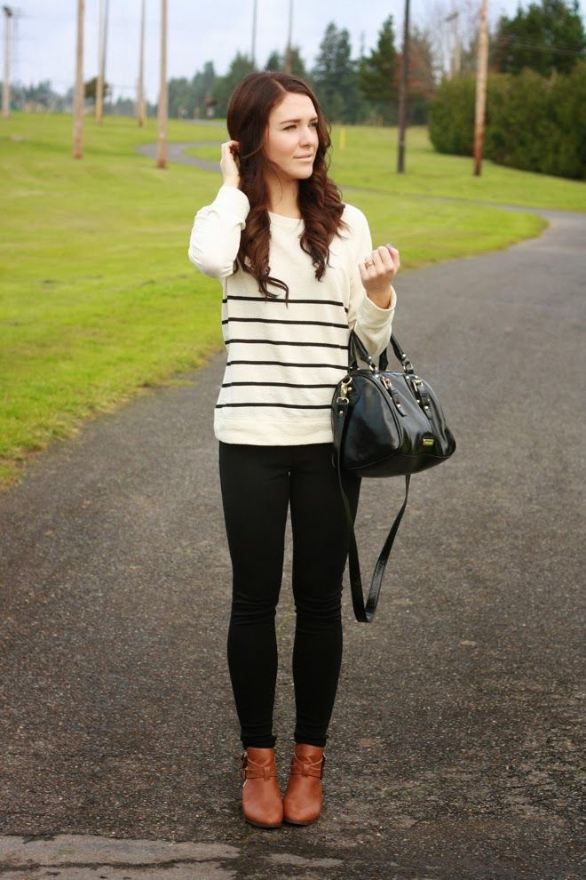 Casual Cute Fall Outfit with cognac booties | re-wear me. | Pinterest | Stripes Black leggings ...