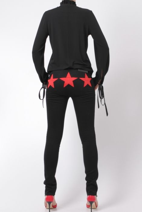 givenchy black trousers with three red stars 16A5514608 606 shop online