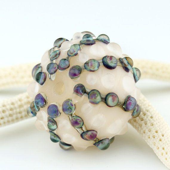SRA Lampwork Glass Hollow Bead Sea Urchin by StoneDesignsbySheila