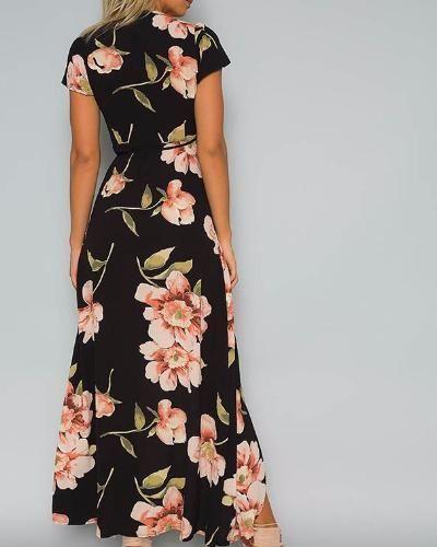 1bdb4734aed5f fashion #dress | Sexy Black Floral Deep V Neck long Dress with Sash ...