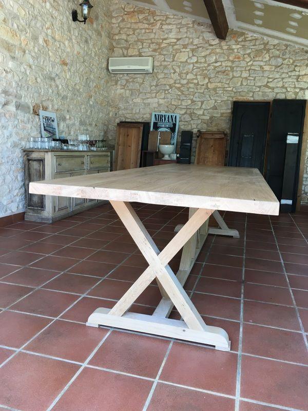 grande table pieds charpente en chêne , bois massif de 3m