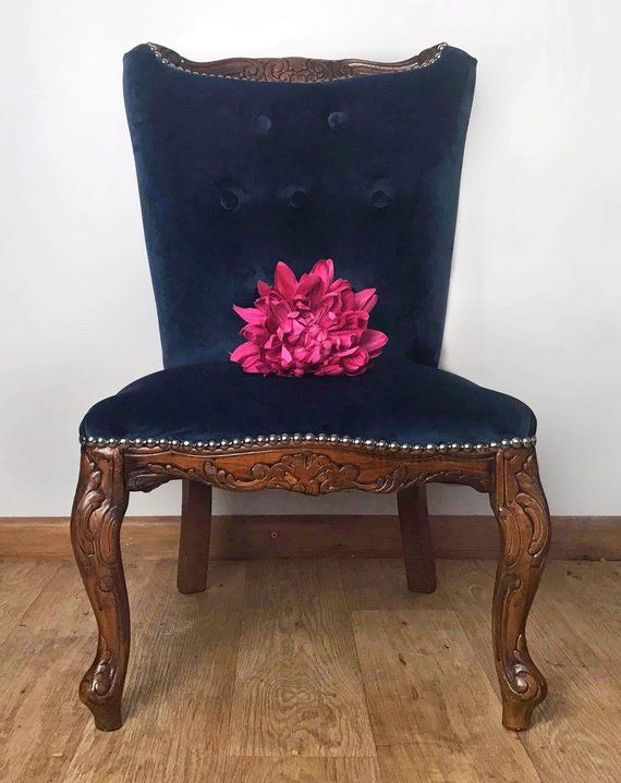 bedroom chair navy ethan allen recliners chairs nursing velvet hallway occasional carved upholstered wooden
