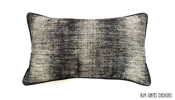 One 12x20 Inch Black And Silver Pillow Cover Masculine Pillow