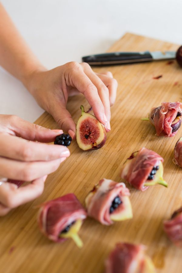 Prosciutto wrapped fig appetizers by http://LaurenConrad.com