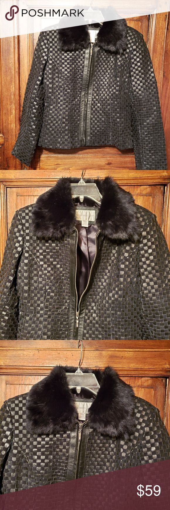 Worthington Woven Leather Jacket Fur Collar sz S Fur