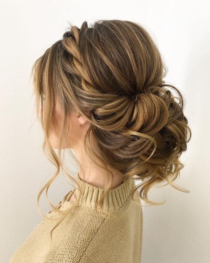 peinados para boda en estilo boho, gran moño suelto, cabello trenzado, hola … cabello corto