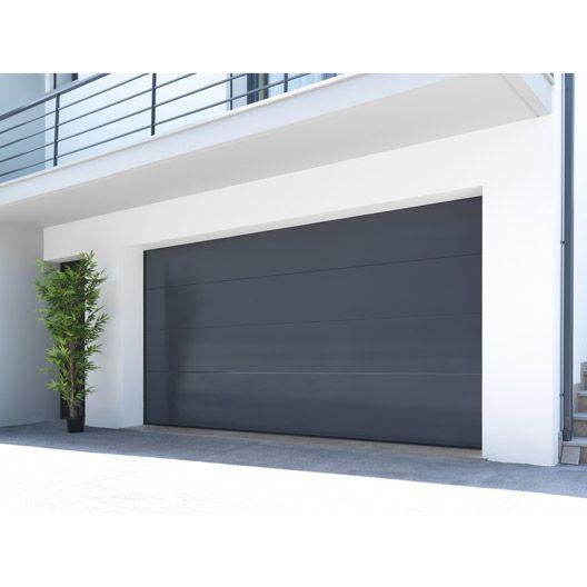 Porte de garage sectionnelle Palma ARTENS, acier gris lisse, 200 x 240cm #matériaux #menuiserie #bois #travaux #amenagement #magasin #leroymerlinguérande #Guerande #loireatlantique #bricolage #catalogue #maison #france
