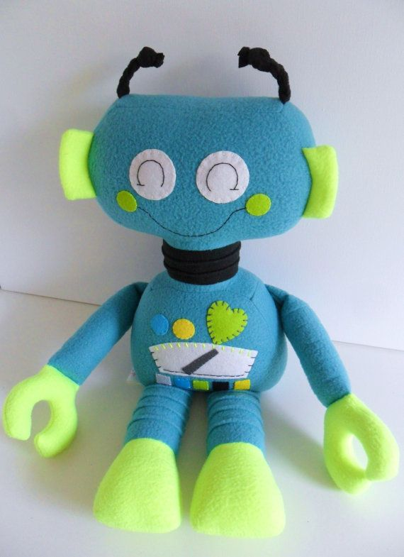 Robot  Kids  Baby & Toddler  Stuffed Toy  Aqua  by 2dancingdogs, $57.00
