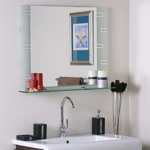 Etched Modern Frameless Mirror with Shelf