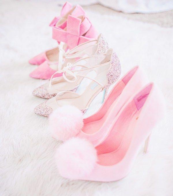 pink heels, pom pom heels, pink bow, bow heels, pink glitter, glitter heels
