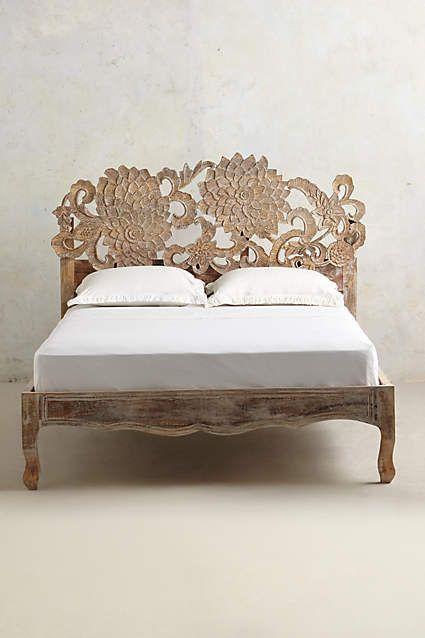Handcarved Lotus Bed King