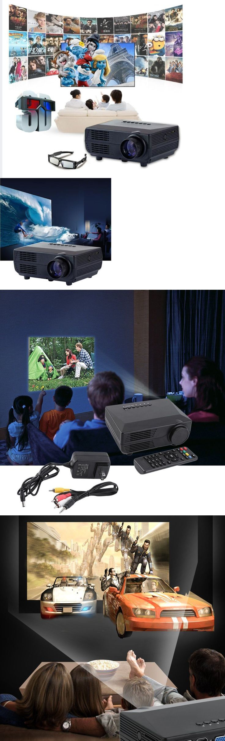 Home Theater Projectors: 2000Lumens Led Lcd Projector Hd 1080P Home Theater Cinema Usb Vga Atv Hdmi Man -> BUY IT NOW ONLY: $49.68 on eBay!
