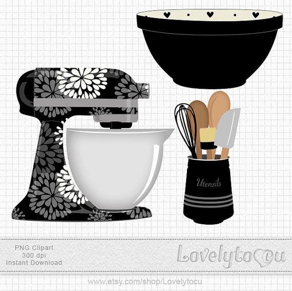 Kitchen Baking clipart set mixer, utensils and bowl digital PNG clip art (black 219) on Etsy, $3.50