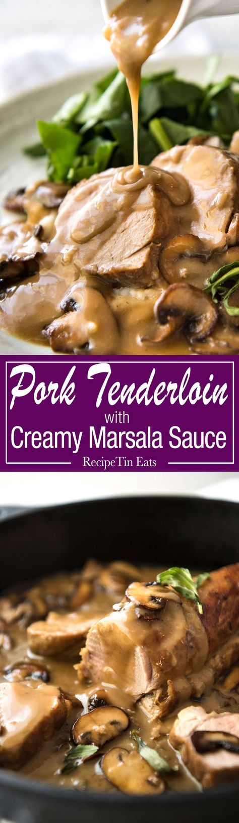 Pork Tenderloin served with a Creamy Marsala Mushroom Sauce - so easy to make, yet impressive enough for company! www.recipetineats.com