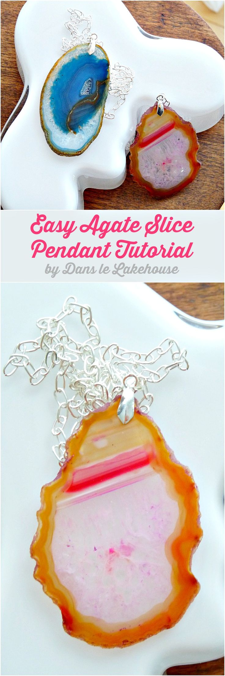 DIY agate slice pendant necklace tutorial