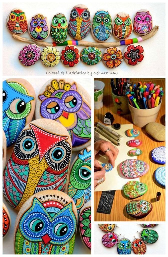 DIY pintado búho rocas