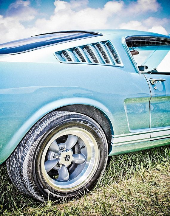 Blue Ford Fastback Mustang Muscle Car Fine by EyeShutterToThink