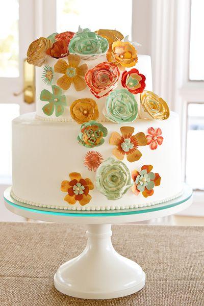LOVE these paper flowers! #cakes #flowers #diyCake Flower, Paper Flower, Lace Cake, Cake Stands, Wedding Cake, Birthday Cake, Simple Cake, Yellow Flower, Flower Cake