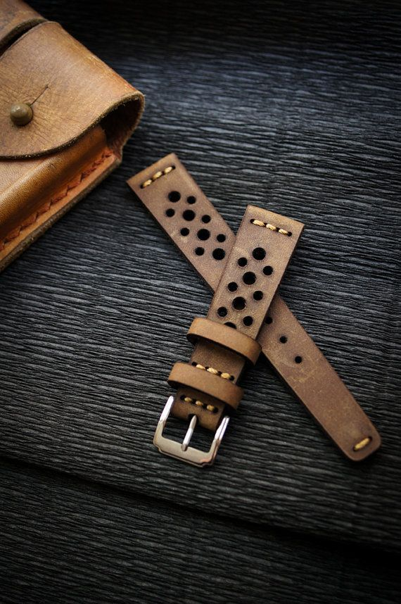 Vintage Leather Strap 20mm Rally Racing Sport watch band FOR SPORT WATCHES WITH 20mm LUGS DOUBLE SIDED TECHNIQUE  100% HAND MADE STRAP  MADE BY STRONG VINTAGE ITALIAN CALF LEATHER  SEW BY GERMAN WAXED STITCH  CUT AND SEWN BY HAND  LUG/BUCKLE 20mm / 16mm  THICKNESS 4mm  WRIST SIZE 125mm / 75mm  Color : like in the pictures (can be a little bit different due to lighting condition)  Buckle include like in the pictures.  We only make and sell premium quality strap for perfect fit and comfort Our…