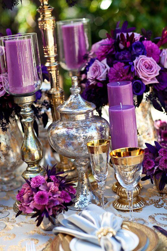 purple candelabras, purple and crystal wedding reception