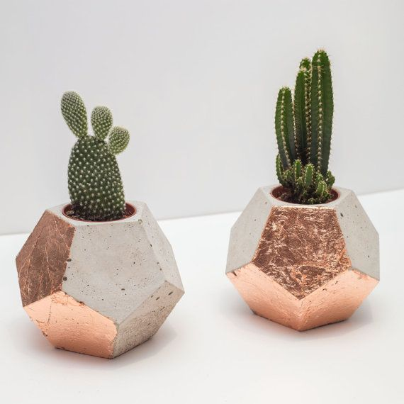 Copper & Concrete Geometric Dodecahedron Planter / Plant Pot (plant included)