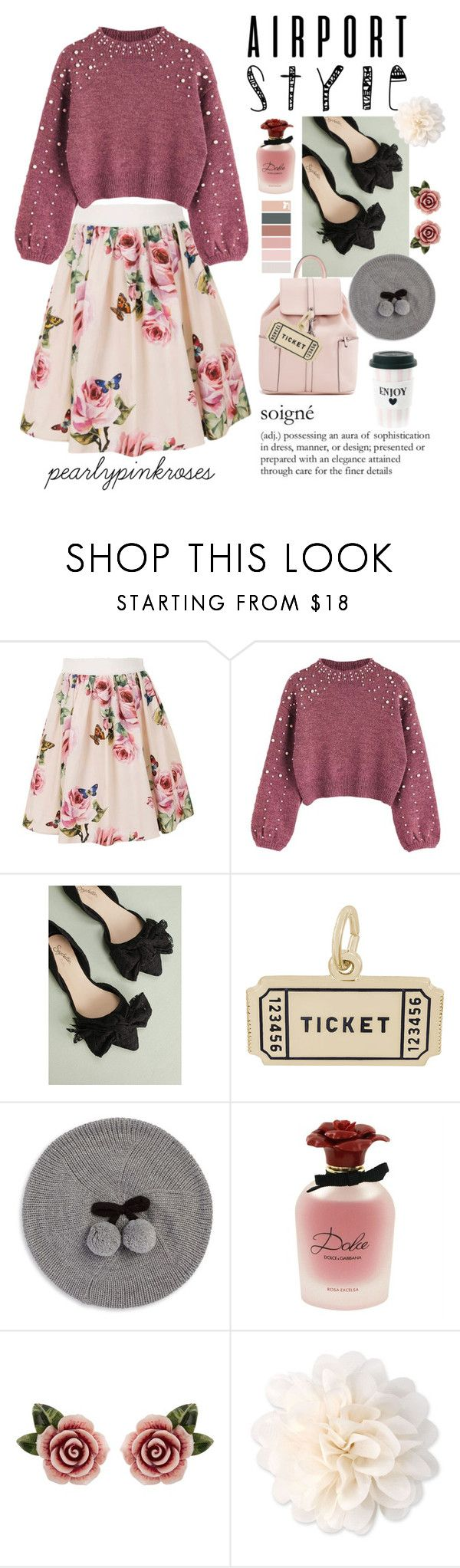 """""""Airport Style"""" by pearlypinkroses ❤ liked on Polyvore featuring Dolce&Gabbana, Seychelles, Rembrandt Charms, Kate Spade, Miss Étoile and vintage"""