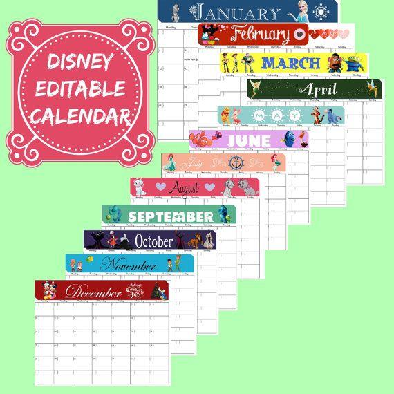 Disney Themed Calendar Set Digital Editable Pdf Calendar Disney Printable 12 Month Calendar