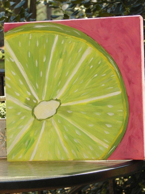 Original Acrylic Painting Colorful Lime On Gallery Canvas