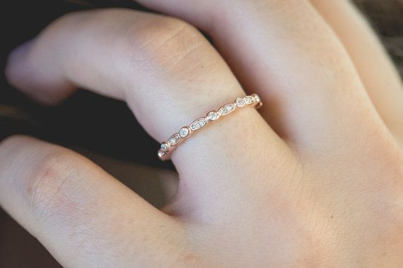 Art Deco Wedding Band Eternity Band Stackable Ring Marquise $25