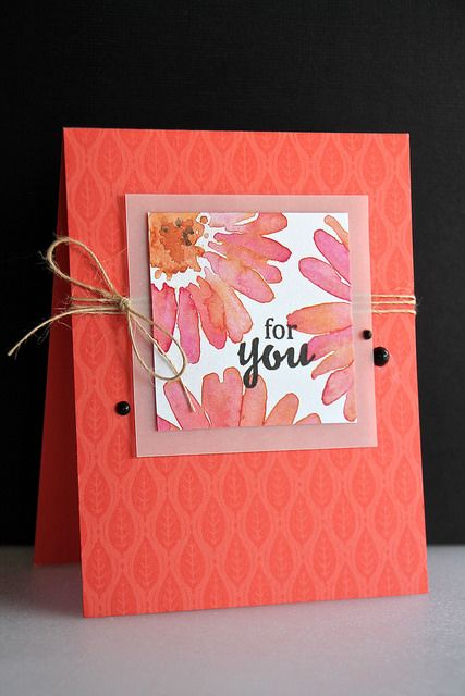 handmade card ... corals ... watercolor flowers ... tone on tone background stamp adds lovely texture ... three black enamel dots randomly placed ... off the edge stamping .. great card! ... Hero Arts