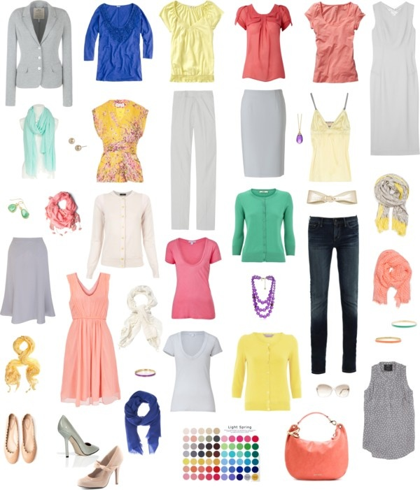 """Light Spring Wardrobe with Gray as Foundation"" by pinz824 on Polyvore"