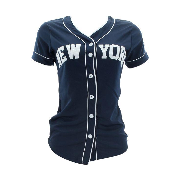 True Rock - Women's New York Baseball Jersey Shirt - Navy/White