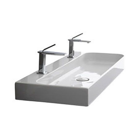 Trough Sink Two Faucets : Ceramic Trough Bath Sink Wall Mount 48