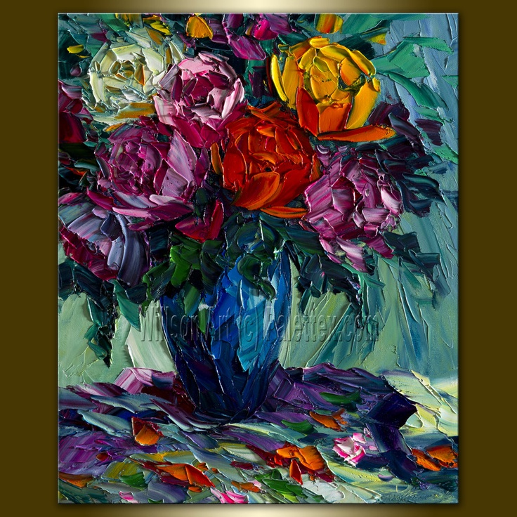 Original Rose Floral Textured Palette Knife Painting Oil on Canvas Contemporary Modern Art Roses 16X20 by Willson Lau. $125.00, via Etsy.