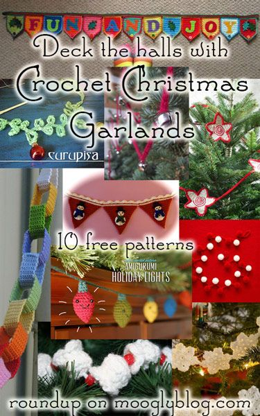 Deck your halls with Crochet Christmas Garlands this year! Festve and free patterns at mooglyblog.com