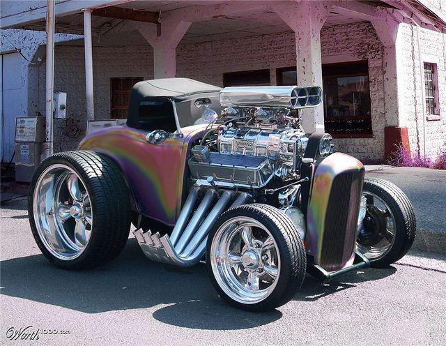 Insane Radical Hot Rod. An engine with a car on it...