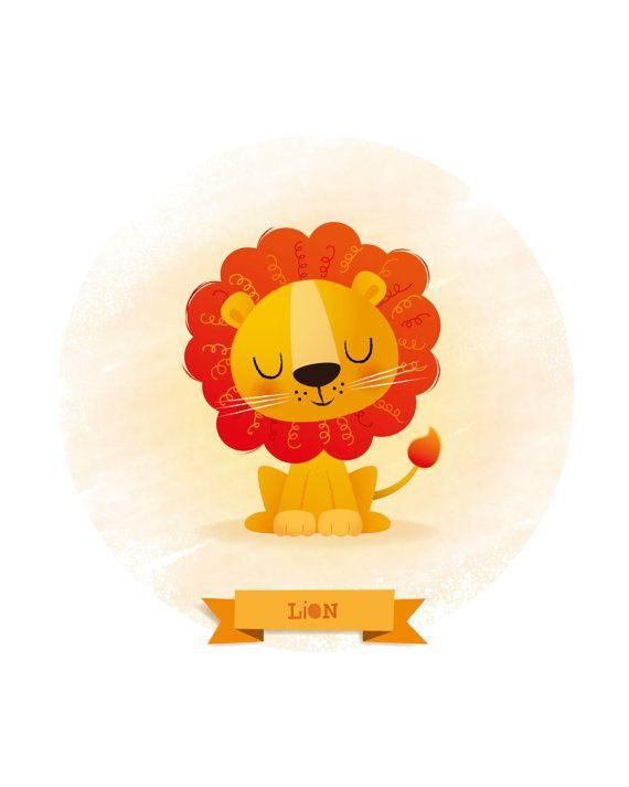 Arte infantil impresión de León Ilustración de por IreneGoughPrints