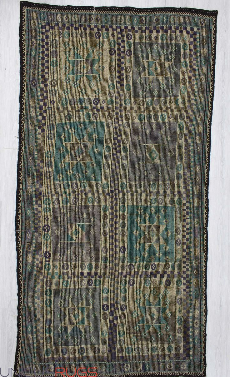"""Vintage handwoven embroidered kilim rug from Denizli region of Turkey. In good condition. Approximately 45-55 years old. Width: 5' 10"""" - Length: 11' 4"""" Embroidered Kilims"""