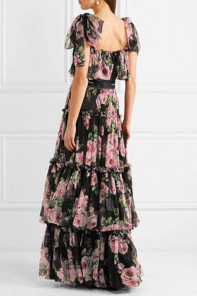 228fa0b193 Dolce   Gabbana - Shirred Floral-print Silk-chiffon Gown - Black ...