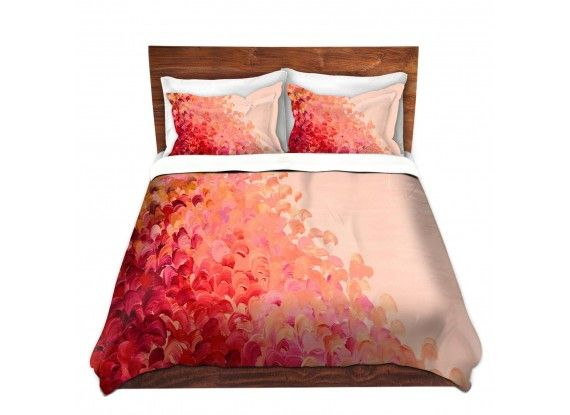 Ebi Emporium Duvet Covers and Pillow Shams, Artist Julia DiSano on Dianoche Designs, Creation in Color #Coral #Peach #Pink #Crimson #Red, Colorful Whimsical Abstract Painting Designer Bedroom Bedding Home Decor Dorm Room Style #feminine #chic #girly #pink #peach #coral #red #cream #offwhite #splash #ocean #waves #ombre #brushstrokes #fun #happy #boldcolors #colorful #abstract #art #fineart #homedecor #decor #prettyinpink #bedroom #bedding #pillow #shams #duvet #duvetcover #dorm #style…